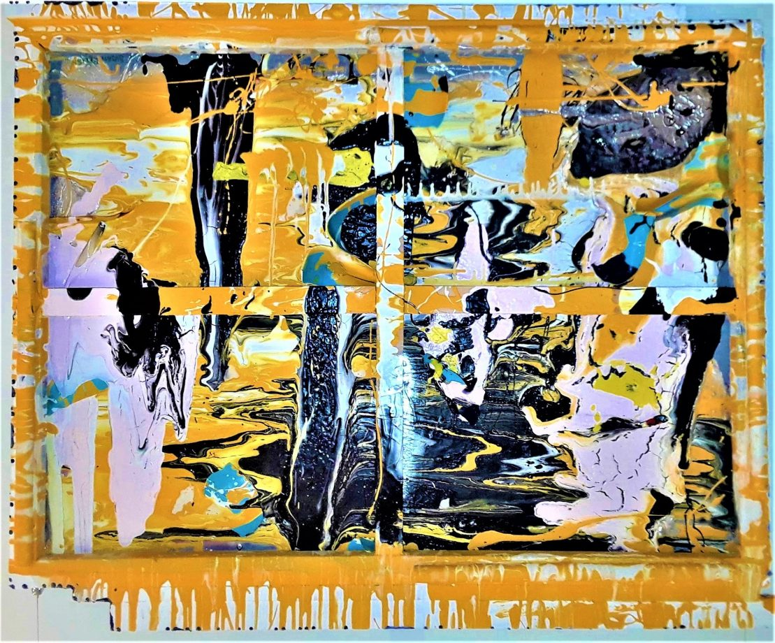 WISECRACKS. The brightest painting ever created. It's liquid shiny colors rival molten glass for excitement and drama. This multi surface canvas is the perfect size, color, and originality to become a focal point in any maxi mansion or tiny home. Paint on canvas . Framed and signed. 42 x inches. For sale $200.00